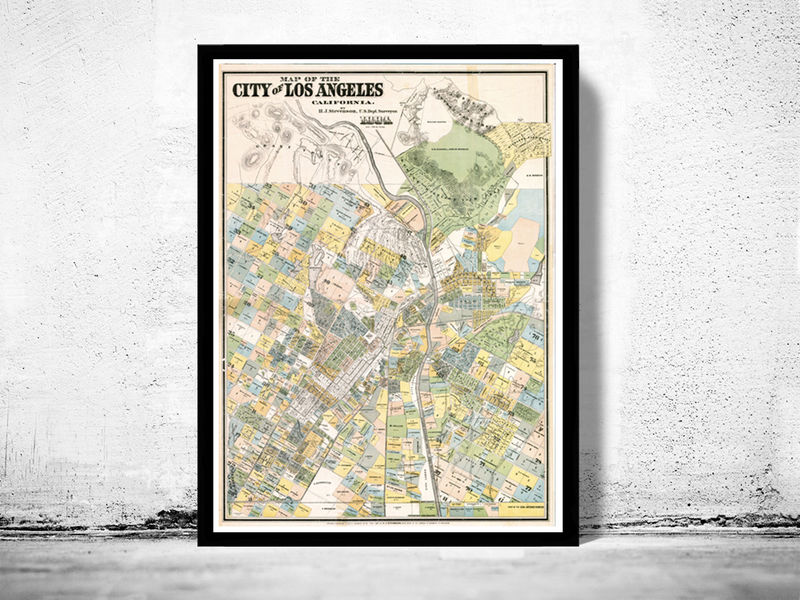 Vintage Map of Los Angeles 1884 - product image