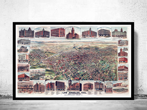 Birdseye,View,of,Los,Angeles,California,,,Aerial,view,United,States,Vintage,1891,Art,Reproduction,Open_Edition,map,vintage,United_States,panoramic_view,gravure,urban,birdseye,vintage_map,california,los_angeles,old_map,vintage_poster,city_plan