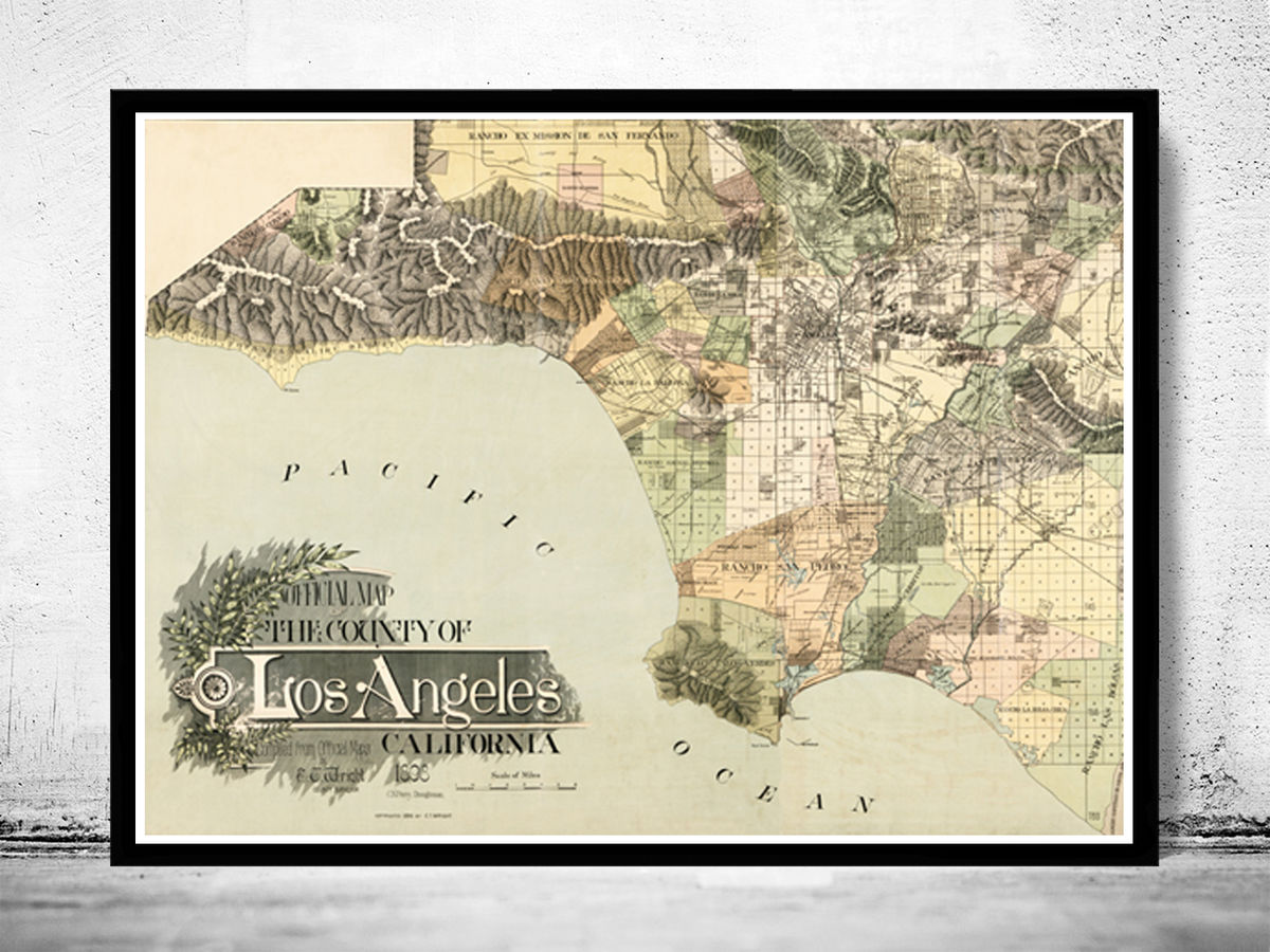 Vintage Old Map of Los Angeles 1898 United States - product images  of