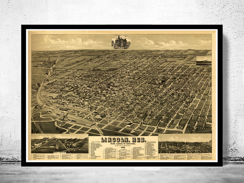 Panoramic View of Lincoln City Nebraska 1889 - product image