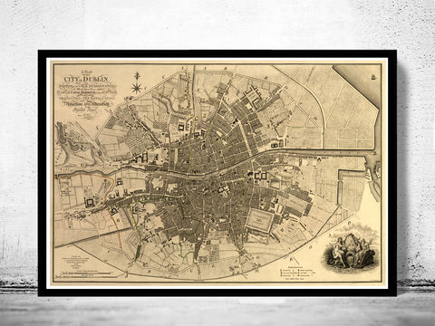 Vintage,Map,of,Dublin,,Ireland,1797,Antique,Art,Reproduction,Open_Edition,vintage,plan,illustration,city_map,retro,antique,Europe,ireland,dublin,old_map,dublin_map,map_of_dublin