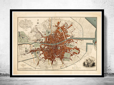 Beautiful,Dublin,Map,,Ireland,1797,Antique,Vintage,Art,Reproduction,Open_Edition,vintage,plan,illustration,city_map,retro,antique,Europe,ireland,dublin,old_map,dublin_map,map_of_dublin