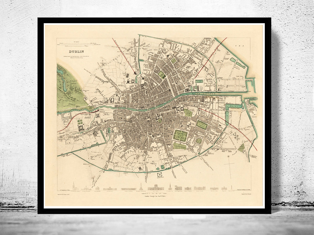 Vintage Map of Dublin Ireland 1853 Vintage Map - product images  of