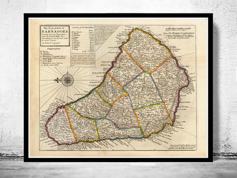 Old,Map,of,Barbados,Antilles,1736,Vintage,antilles, barbados, barbados islands, barbados map, caribbean map, old maps for sale, old map reproductions