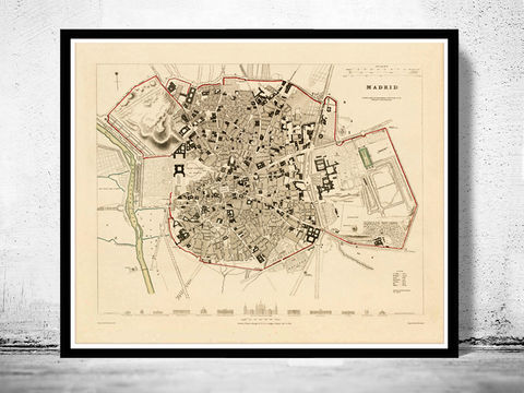 Old,Map,of,Madrid,Spain,1831,Vintage,madrid, madrid map, map of madrid, spain map