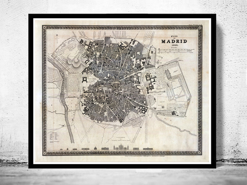 Old Map of Madrid with gravures, Spain Espana 1844 Vintage - product image