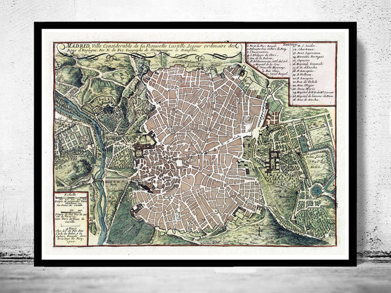 Old Map of Madrid with gravures, Spain Espana 1717 Vintage - product image