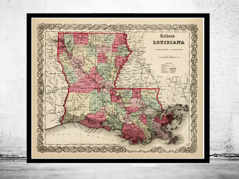 Old,Map,Louisiana,State,1865,louisiana, louisiana map