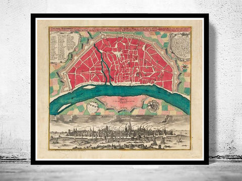 Old,Map,of,Koln,Cologne,,Germany,1740,koln map, map of koln, koln germany, cologne, koln poster,old maps for sale, buy map, maps reproductions, map shop,  antique map,antique, map