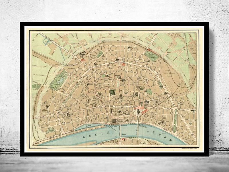 Old Map of Koln Cologne, Germany 1910 - product image