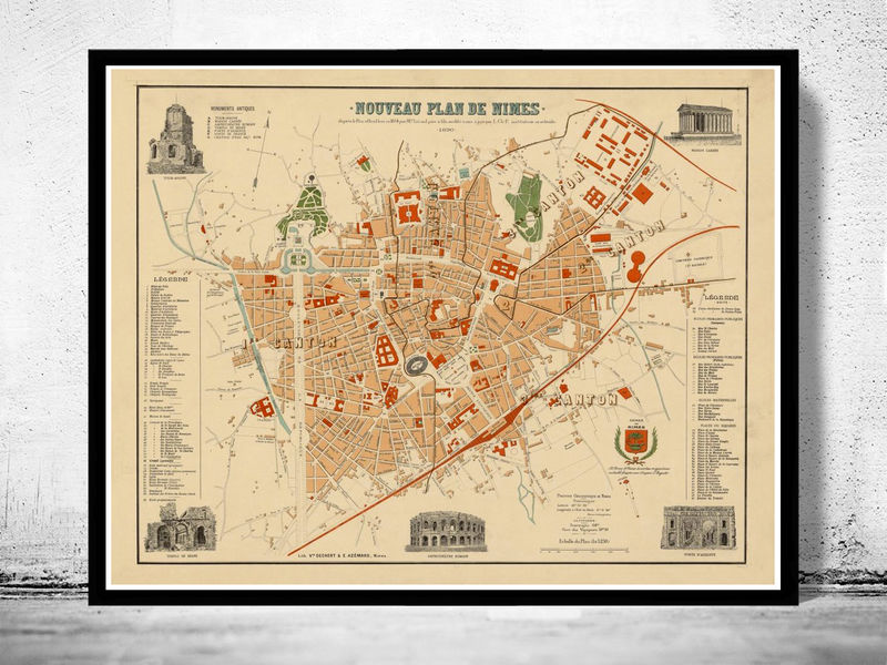 Old Map of Nimes  France 1854 Vintage Map - product image