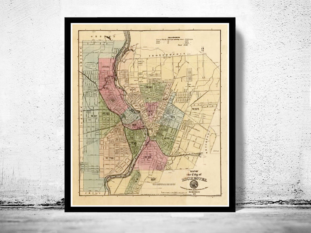 Old Map of Rochester 1882 - product images  of