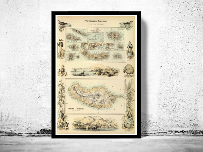 Old Map of Açores Azores and Madeira Islands 1876,  Portuguese islands - product image