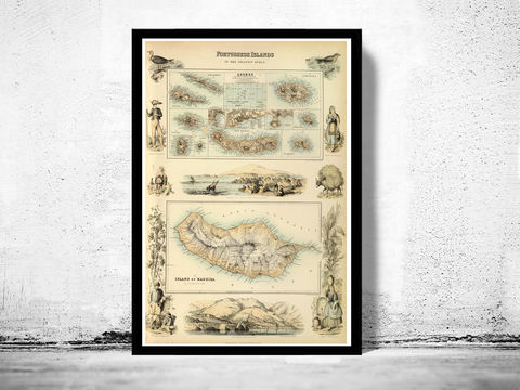 Old,Map,of,Açores,Azores,and,Madeira,Islands,1876,,Portuguese,islands,Art,Reproduction,Open_Edition,Vintage_map,old_map,portugal,antique_map_map,portugal_poster,portuguese,retro,map_of_portugal,azores,acores_map,madeira_island,madeira_island_map,portuguese_islands
