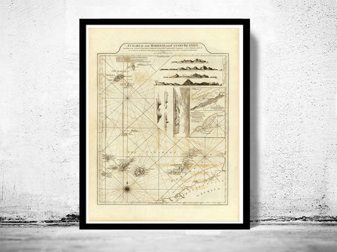 Old,Map,Canary,Islands,Madeira,1787,Art,Reproduction,Open_Edition,Vintage_map,vintage_poster,old_map,map_poster,portugal,mapa_de_portugal,antique_map_map,portugal_poster,portuguese,retro,map_of_portugal,madeira, madeira island, canary islands, canary islands map, canary islands poster, made