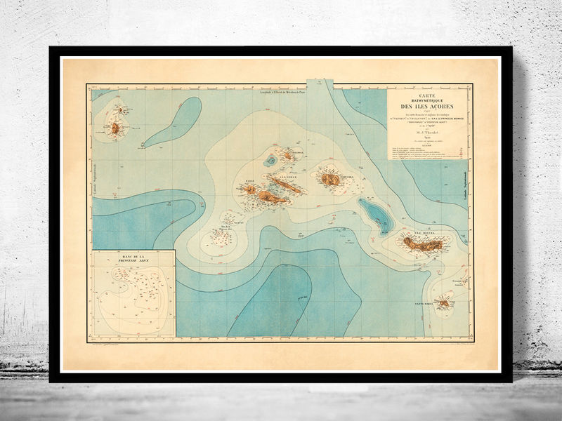Old Map of Açores Azores Islands 1899,  Portuguese map - product image