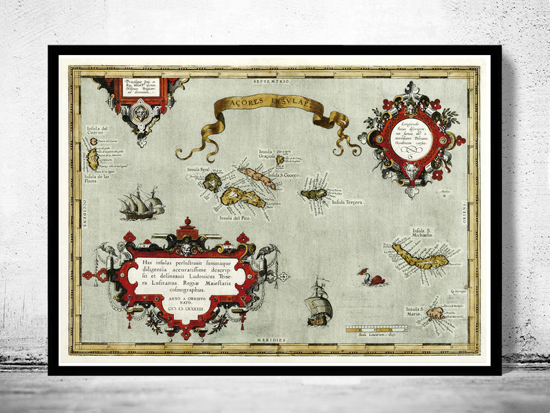 Old Map of Açores Azores Islands 1584,  Portuguese map - product image