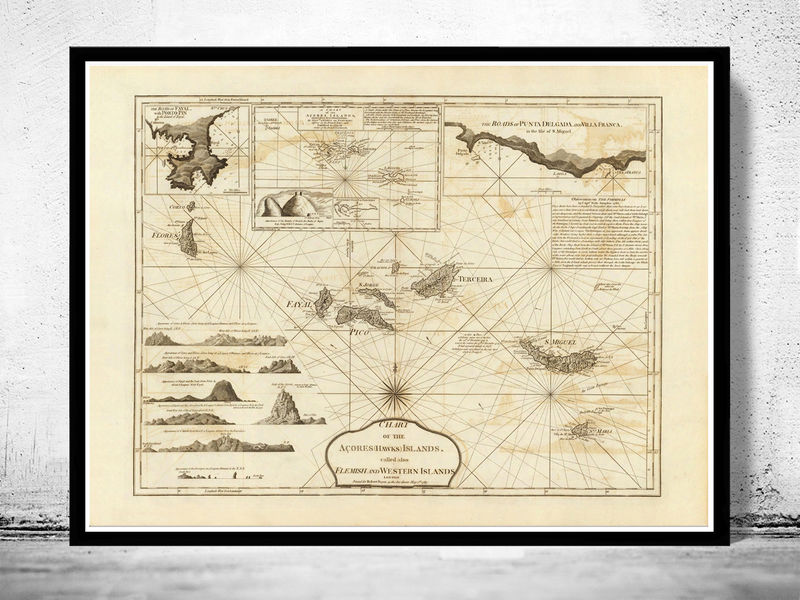 Old Map of Açores Azores Islands 1787,  Portuguese map - product image
