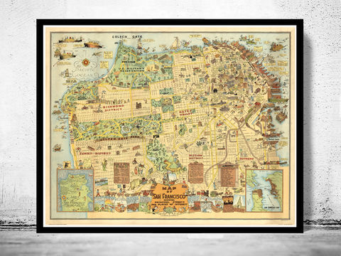 Old,Map,of,San,Francisco,1927,Pictorial,Art,Reproduction,Open_Edition,vintage,United_States,USA,city_map,retro,antique,San_Francisco,map_of_san_francisco,san_francisco_map,san_francisco_gift,francisco_vintage,san_francisco_city,san_francisco_retro
