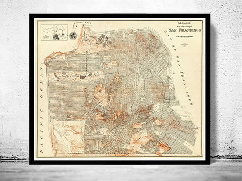 Old,Map,of,San,Francisco,1929,Vintage,san francisco, san francisco map, san francisco california, vintage map of san francisco, old map of san francisco, san francisco map print