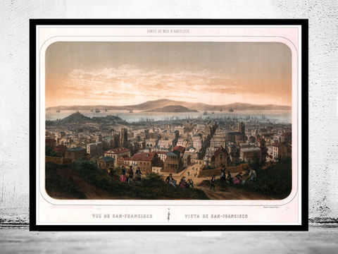 Vintage,Panoramic,View,of,San,Francisco,Birdseye,,United,States,America,1886,Art,Reproduction,Open_Edition,city,vintage,illustration,United_States,USA,city_map,retro,antique,capital_city,birdseye,panoramic,san_francisco