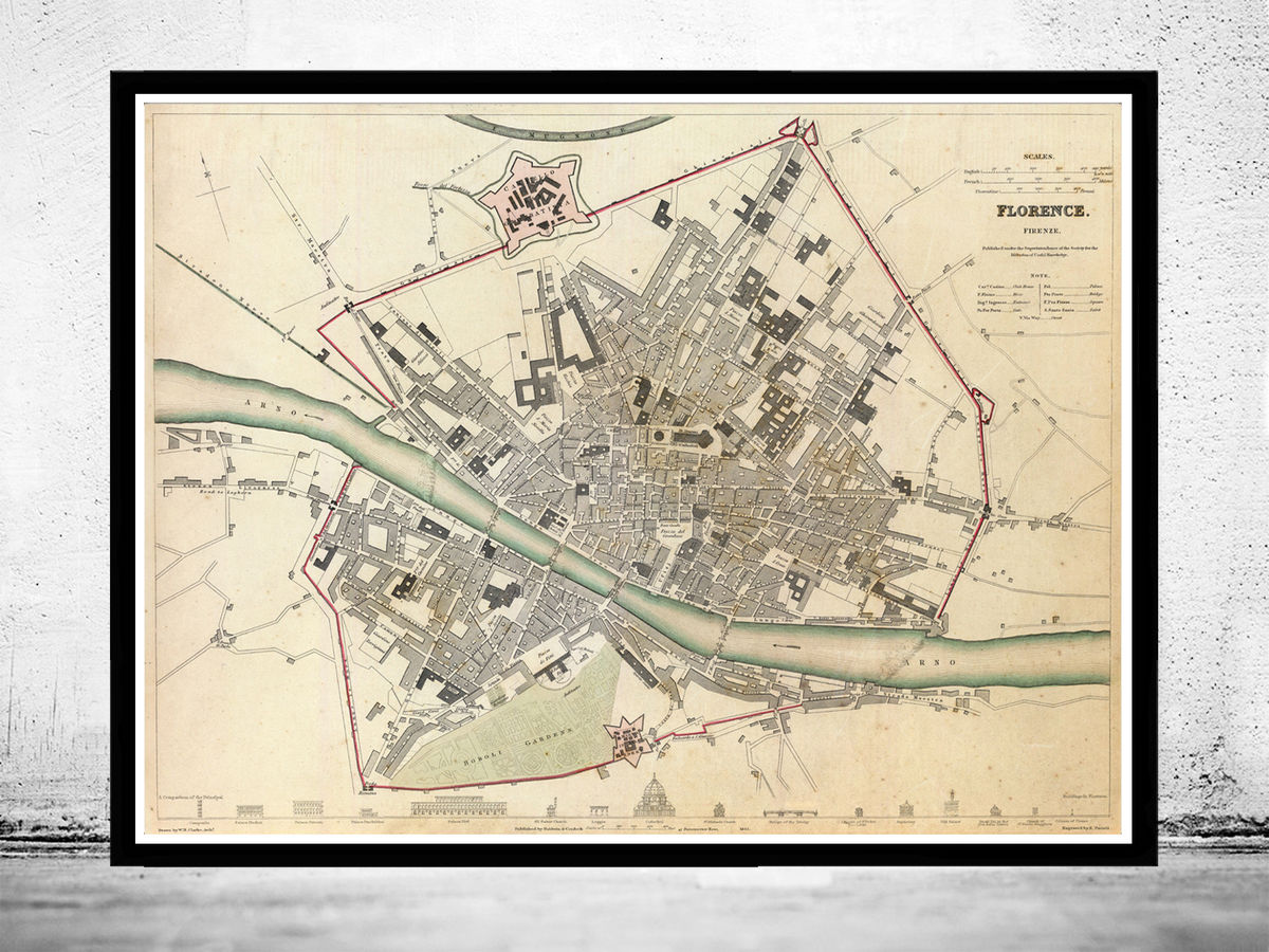 Old Map of Florence Firenze, City Plan  Italia 1835 Antique Vintage Italy - product images  of