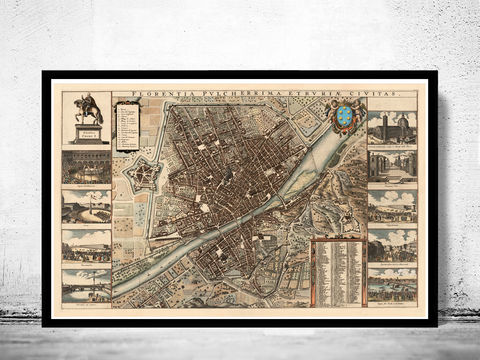 Old,Map,of,Florence,Firenze,1685,Antique,Vintage,Italy,Art,Reproduction,Open_Edition,vintage,plan,city_map,retro,antique,Europe,italy,italia,florence,firenze,old_map,vintage_map,vintage_poster, old maps reproductions, old maps for sale, map reproduction