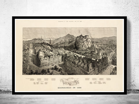 Old,Edinburgh,Vintage,Panoramic,View,in,1886,Edinbourg,Scotland,edinburgh vintage, Art,Reproduction,Open_Edition,vintage_map,city_plan,edinburgh,edinbourg,engraving,edinburgh_map,edinbourg_poster,edinburgh_decor,scotland_edinburgh,old_map_of_edinburgh,edinburgh_retro