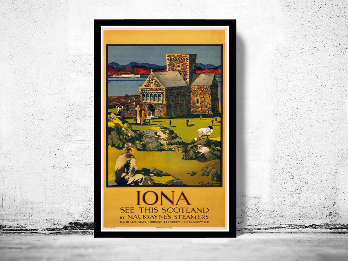 Vintage Poster of Scotland, Iona Travel Poster Tourism 1928 - product images  of