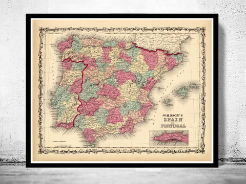 Old,Map,of,Spain,and,Portugal,1860,Art,Reproduction,Open_Edition,Vintage_map,espana,portugal,lisbon,iberia,old_map_spain,spain_map,portugal_map,iberia_map,hispania,spain_vintage_map,vintage_spain,madrid_map, map of spain, spain map, spain poster, madrid, vintage map, antique map