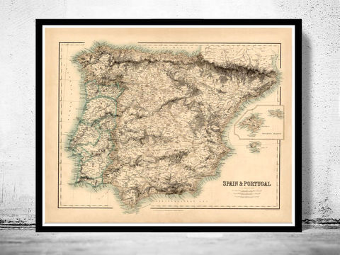 Old,Map,of,Spain,1860,Art,Reproduction,Open_Edition,Vintage_map,espana,portugal,lisbon,iberia,old_map_spain,spain_map,portugal_map,iberia_map,hispania,spain_vintage_map,vintage_spain,madrid_map, map of spain, spain map, spain poster, madrid, vintage map, antique map