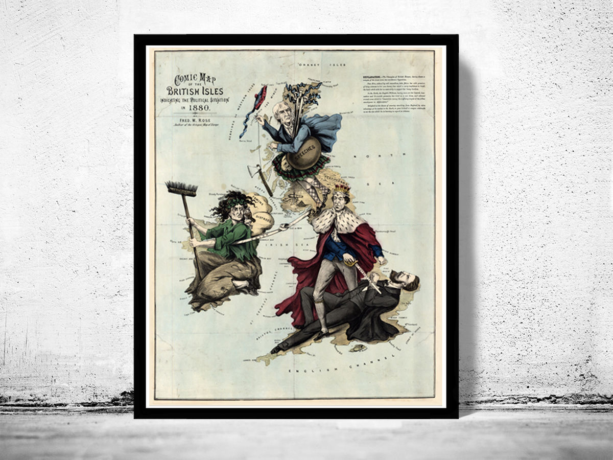 Old Map of United Kingdom, Ireland, Scotland, England 1880 UK, British Isles Comic Map - product images  of