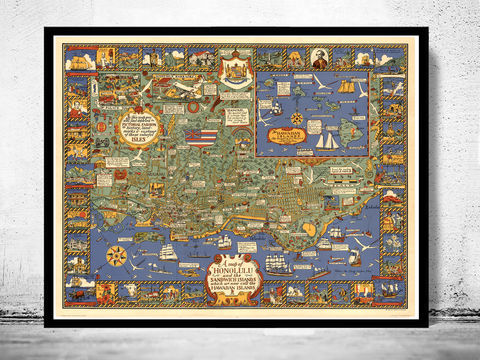 Old,Map,of,Honolulu,hawaiian,Islands,1927,Vintage,Hawai map, hawai poster, hawaiian Islands , bermudas islands map, map of bermudas, bermudas poster, caribbean map, antillas, gulf of mexico, map, florida, nicaragua