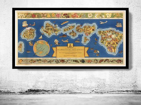 Old,Map,of,Hawai,Hawaiian,Islands,1937,Vintage,Hawai map, hawai poster,Honolulu, hawaiian Islands , bermudas islands map, map of bermudas, bermudas poster, caribbean map, antillas, gulf of mexico, map, florida, nicaragua