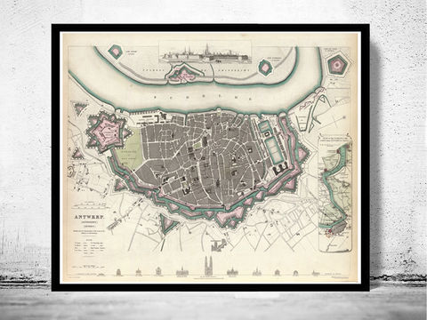 Old,Map,of,Antwerp,,Belgium,1832,Antique,Vintage,Flanders,Art,Reproduction,Open_Edition,city_map,retro,antique,Europe,belgium,antwerp,flanders,old_map,vintage_map,engraving,city_plan,antwerp_map,map_of_antwerp