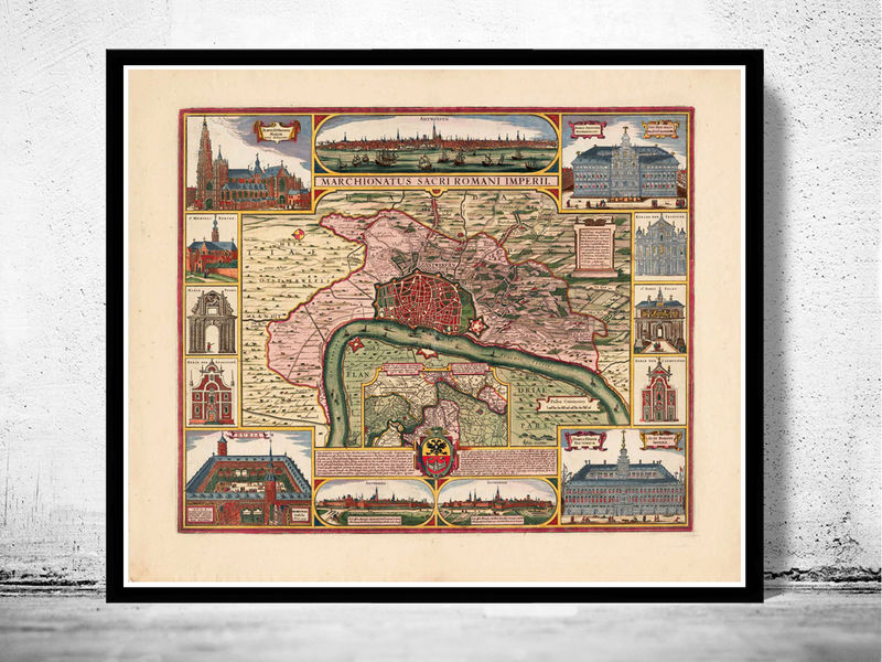 Old Map of Antwerp, Belgium 1675 Anvers antique map - product image