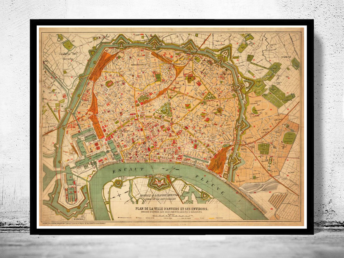 Old Map of Antwerp, Belgium 1910 Anvers antique map - product images  of