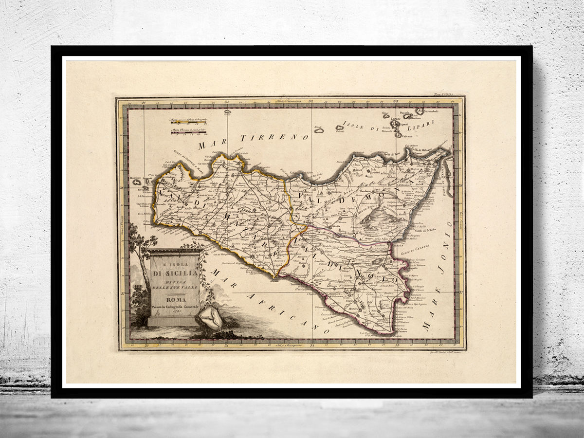 Old Map of Sicily Sicilia Italy 1790 Vintage Map - product images  of