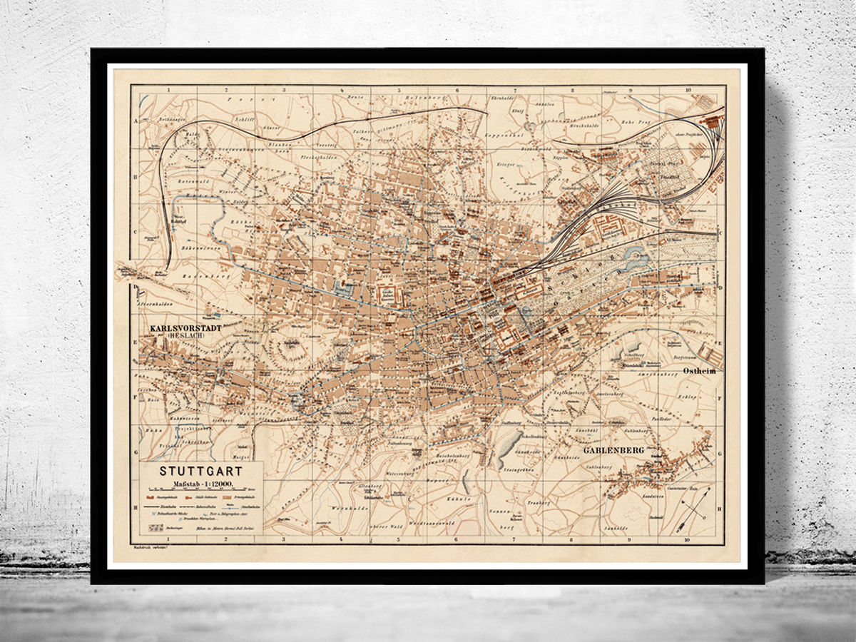 Old Map of Stuttgart Germany 1910 Vintage map - product images  of