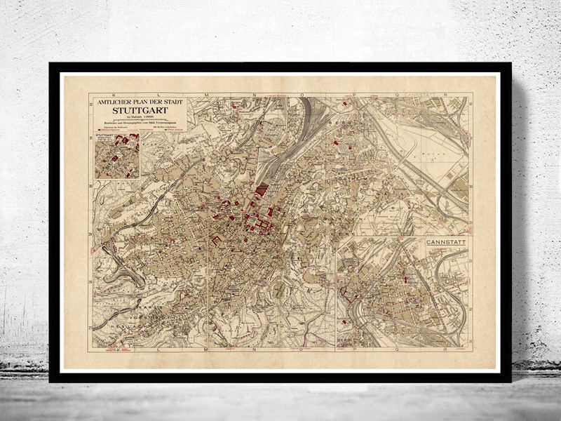 Old Map of Stuttgart, Germany 1925 Vintage map - product image