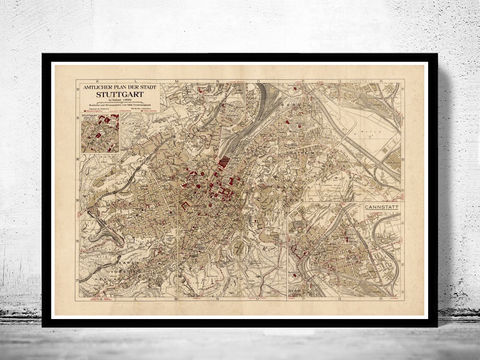 Old,Map,of,Stuttgart,Germany,1925,Vintage,map,stuttgart,stuttgart map, map of stuttgart, stuttgart poster, old stuttgart, germany poster, stuttgart germany, old maps for sale, maps reproductions, antique map
