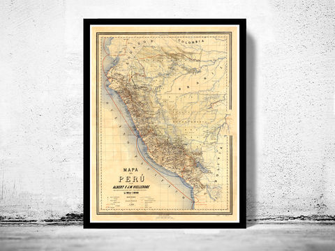Old,map,of,Peru,Lima,1896,peru, map of peru, chile peru, poster, lima peru, old map, maps