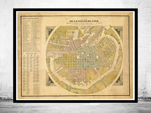 Old,map,of,Peru,Lima,1830,Vintage,Map,peru, map of peru, chile peru, poster, lima peru, old map, maps, map of lima, lima city, lima map, buy map, buy old map