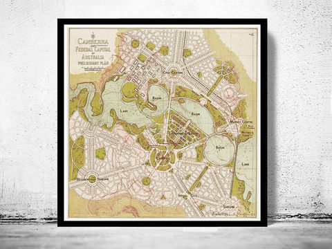 Vintage,Map,of,Canberra,City,,,Australia,Oceania,1913,canberra map, australia map