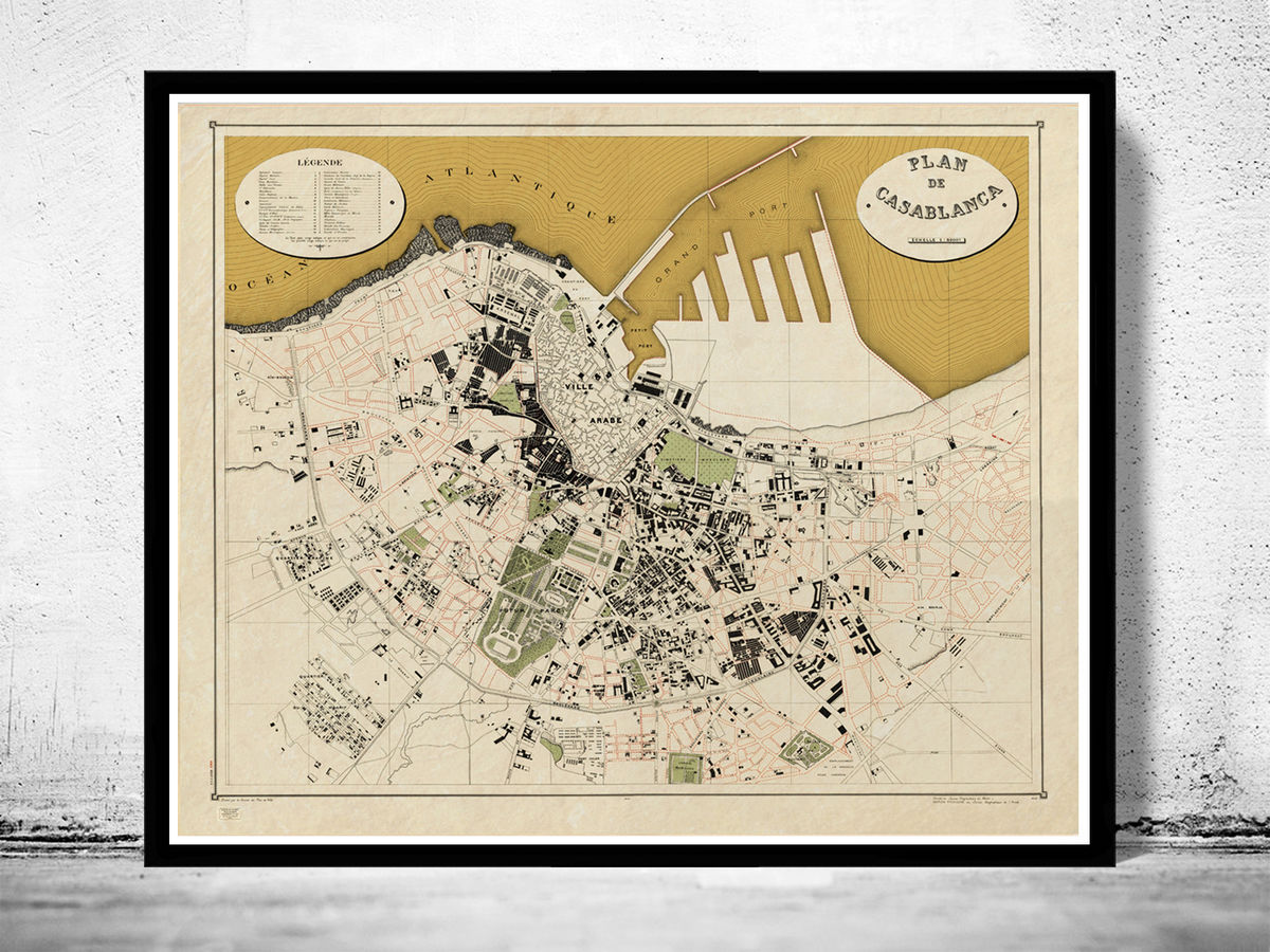 Old Map of Casablanca Morocco 1920  Vintage Map - product images  of