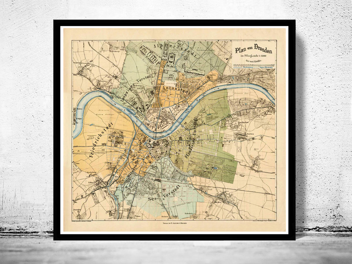 Old Map of Dresden 1878 Germany Vintage Map - product images  of