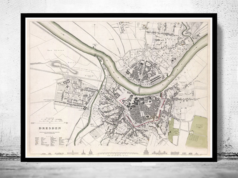 Old Map of Dresden with gravures, Germany Deutshland 1833 Vintage - product image