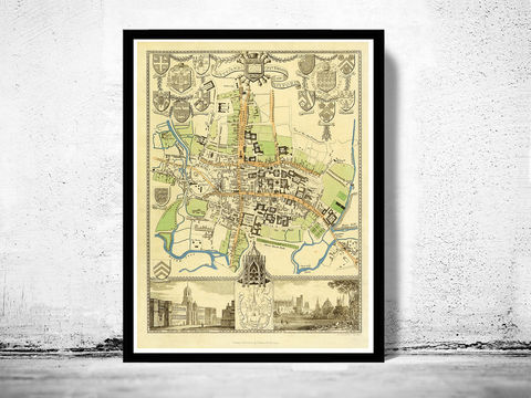 Old,Map,of,Oxford,1837,United,Kingdom,Art,Reproduction,Open_Edition,oxford, oxford uk, oxford map, map of oxford, oxford poster, map, old map, maps and prints