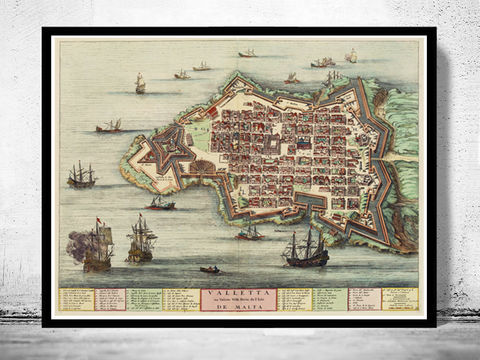 Old,Map,of,Valletta,Malta,Island,1705,Art,Reproduction,Open_Edition,vintage,medieval,gravure,vintage_map,illustration,city_plan,old_map,vintage_poster,engraving,valletta,malta,island