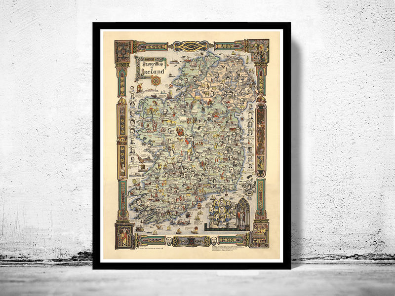 Vintage Map of Ireland Story Map 1936 - product image